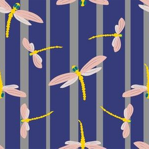 Dragonflies on stripes