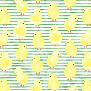 watercolor chicks - green stripes - spring easter - LAD19