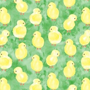 watercolor chicks - green - spring easter - LAD19