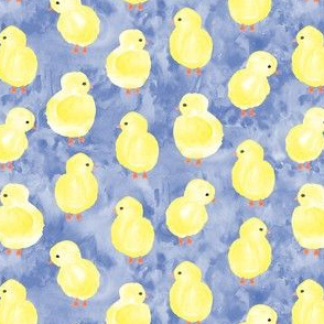 watercolor chicks - periwinkle - spring easter - LAD19
