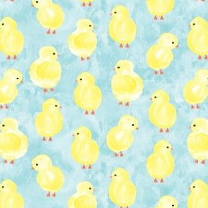 watercolor chicks - blue  - spring easter - LAD19