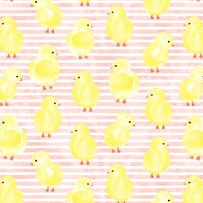 watercolor chicks - pink stripes - spring easter - LAD19