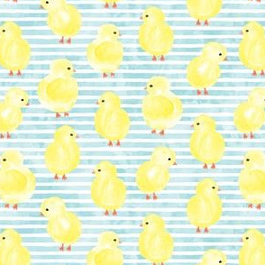 watercolor chicks - blue stripes - spring easter - LAD19