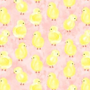 watercolor chicks - pink - spring easter - LAD19