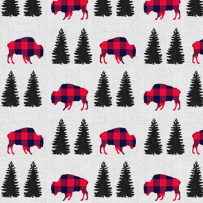 "8"" Woodland Plaid Buffalo // Light Gray Linen"