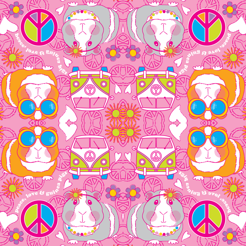 peace love and guinea pigs on pink giftwrap - lilcubby
