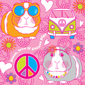 peace love and guinea pigs on pink