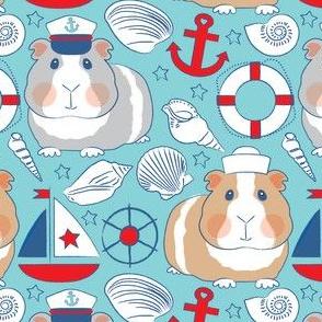 nautical guinea pigs on teal