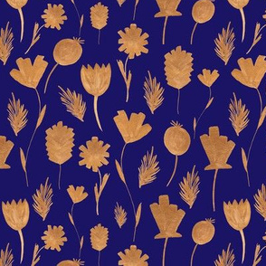 Gold Flowers On Blue
