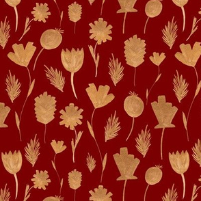 Gold Flowers On Dark Red