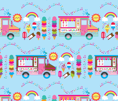 aloha ice cream truck with treats large fabric by alohababy on Spoonflower - custom fabric