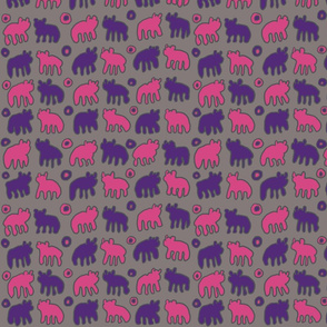 Tribal Bear design in Pink and Purple