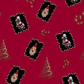 Painterly Bah Humbug Santa Cats on Red