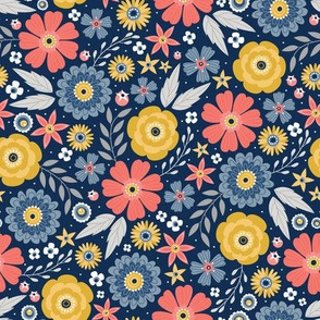 Floral Festival (Navy and Living Coral)