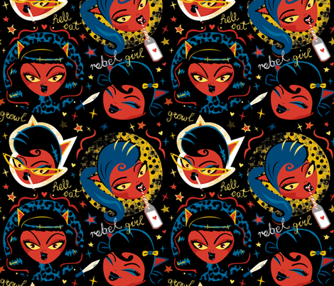 Rockabilly Rebel Girl by Mount Vic and Me fabric by mountvicandme on Spoonflower - custom fabric