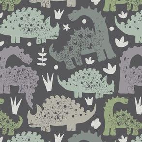 Dinosaurs on grey