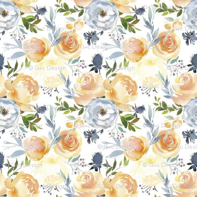 Peach Roses and Yellow Peonies