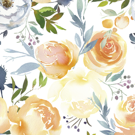 Peach Roses and Yellow Peonies  fabric by g+c on Spoonflower - custom fabric