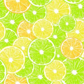 Lemon, orange and lime slices pattern design