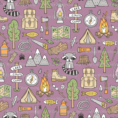 Outdoors Camping Woodland Doodle with Campfire, Raccoon, Mountains, Trees, Logs on Purple Mauve
