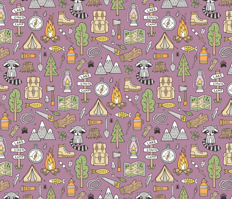Outdoors Camping Woodland Doodle with Campfire, Raccoon, Mountains, Trees, Logs on Purple Mauve fabric by caja_design on Spoonflower - custom fabric
