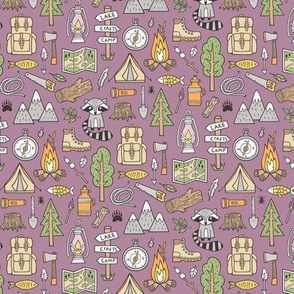 Outdoors Camping Woodland Doodle with Campfire, Raccoon, Mountains, Trees, Logs on Purple Mauve 1,5 inch