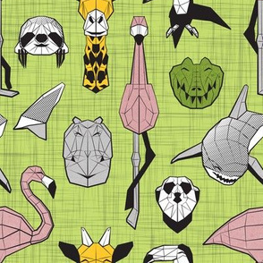 Summery Geometric Animals // small scale // green linen texture background black and white grey green yellow and pink blush flamingos hippos giraffes sharks crocs sloths meerkats and toucans