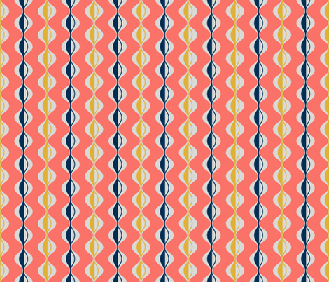 Living coral waves fabric by wellwellpatterns on Spoonflower - custom fabric