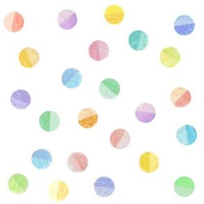 rubberstamped polkadots, pastel rainbow