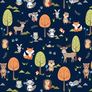 TINY Cute Woodland Animals on Navy