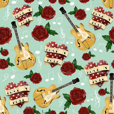 Rockabilly Tattoo Hearts, Roses and Guitars on Mint Green