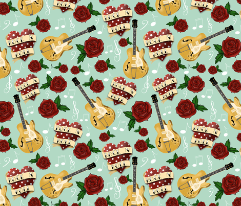 Rockabilly Tattoo Hearts, Roses and Guitars on Mint Green fabric by silkinson on Spoonflower - custom fabric