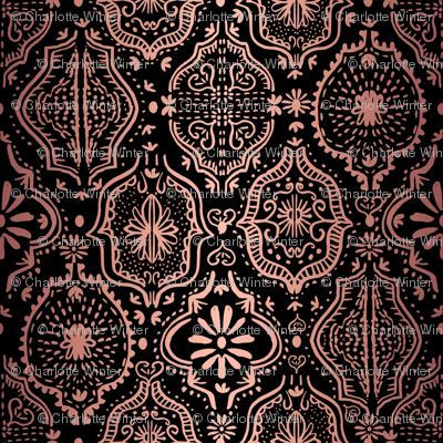 moroccan tile - moroccan tile, hand painted, painted tile, africa, exotic, boho, painted, - rosegold black