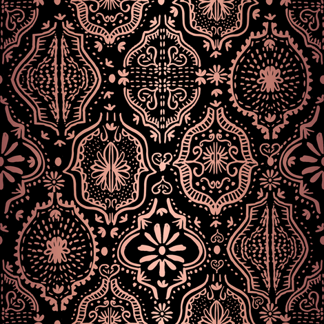 moroccan tile - moroccan tile, hand painted, painted tile, africa, exotic, boho, painted, - rosegold black fabric by charlottewinter on Spoonflower - custom fabric