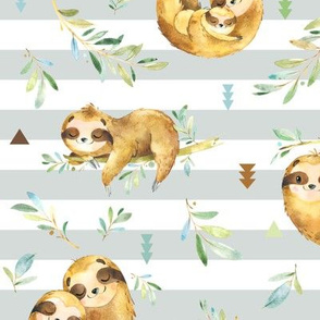 Sloths Hangin On, Gray Frost Stripe – Children's Bedding Baby Boy Nursery, LARGE Scale