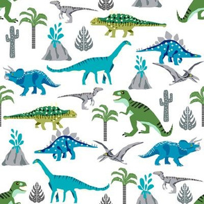 dinosaurs fabric - dino fabric, blue and green fabric, nursery fabric, baby boy fabric, cute fabric for boys