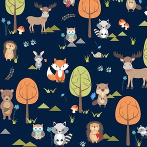 Cute Woodland Animals on Navy - SMALL Scale