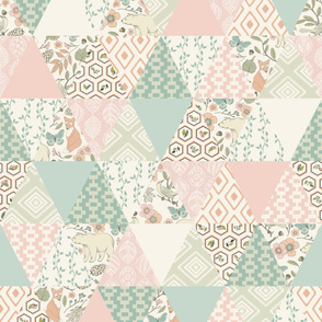 Autumn Pastel - Cream , Pink, Aqua, Mint, Blush - Wholecloth Triangle Quilt - Cheater Quilt