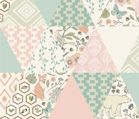 Autumn Pastel - Cream , Pink, Aqua, Mint, Blush - Wholecloth Triangle Quilt - Cheater Quilt fabric by fernlesliestudio on Spoonflower - custom fabric
