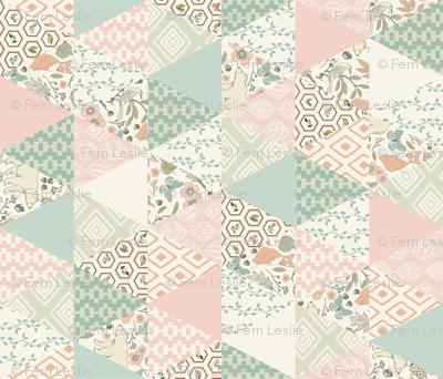 Autumn Pastel - Rotated - Cream , Pink, Aqua, Mint, Blush - Wholecloth Triangle Quilt - Cheater Quilt