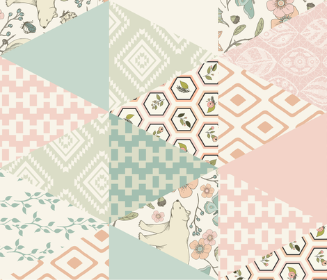 Autumn Pastel - Rotated - Cream , Pink, Aqua, Mint, Blush - Wholecloth Triangle Quilt - Cheater Quilt fabric by fernlesliestudio on Spoonflower - custom fabric