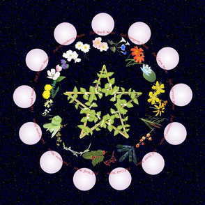 Wheel of Moons and Flowers in Blue