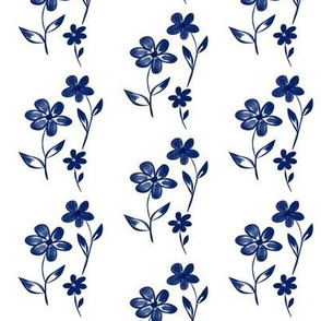 Velvety Blooms of Blue on White - Small Scale