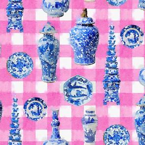 Large Chinoiserie Ceramics on Pink Buffalo Plaid