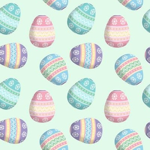 easter eggs on mint green