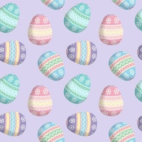 easter eggs on lavender