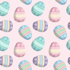 easter eggs on pink
