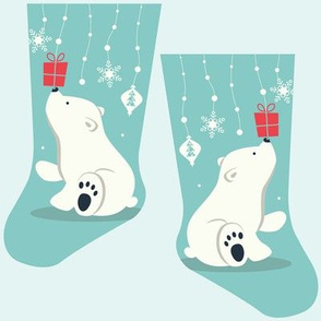 Mini polar bear stocking