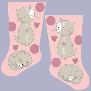 Mini pink kitties stocking