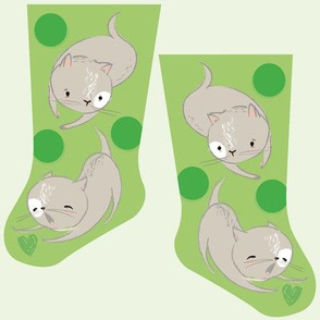 Mini green kitties stocking